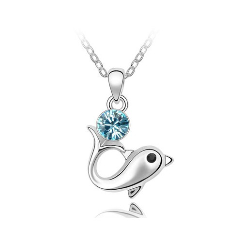 dolphin design sky blue austrian pendant necklace
