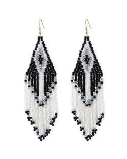 Bohemian Fashion Mini Beads Tassel Design Women Earrings - Black