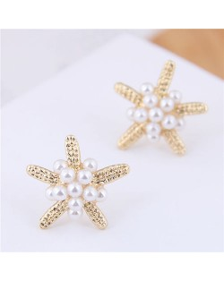 Pearl Decorated Starfish Sweet Fashion Women Earrings - Golden