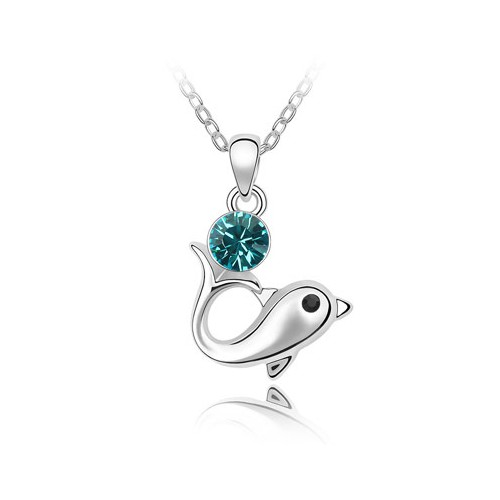 Dolphin love design aquamarine austrian crystal pendant necklace aloadofball Choice Image
