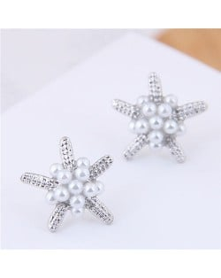Pearl Decorated Starfish Sweet Fashion Women Earrings - Silver
