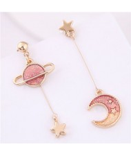 Star and Moon Asymmetric Design Cute Fashion Women Earrings - Red