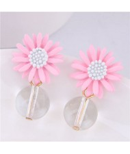 Sweet Chrysanthemum with Transparent Ball Pendant Design Women Costume Earrings - Pink
