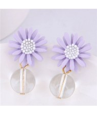 Sweet Chrysanthemum with Transparent Ball Pendant Design Women Costume Earrings - Violet
