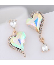 Rhinestone Emebllished Hearts Design Asymmetric Fashion Earrings - Luminous White