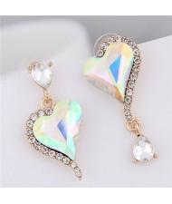 Rhinestone Emebllished Hearts Design Asymmetric Fashion Earrings - Luminous White