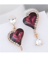 Rhinestone Emebllished Hearts Design Asymmetric Fashion Earrings - Wine Red