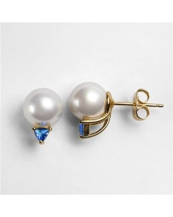 Pearl Fashion with Cubic Zirconia Decoration Rose Gold Earrings - Blue