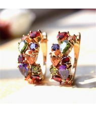 Multicolor Cubic Zirconia Premium Grade Rose Gold Earrings