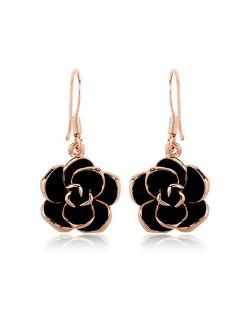 Black Flower Pendant Design Women Rose Gold Earrings
