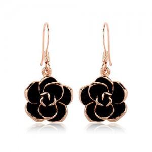 Black Flower Pendant Design Women Rose Gold Earrings