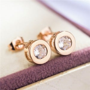 Cubic Zirconia Embellished Round Design Rose Gold Earrings