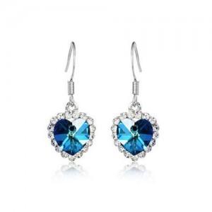 Saphire Crystal Embellished Heart Shape Earrings - Platinum