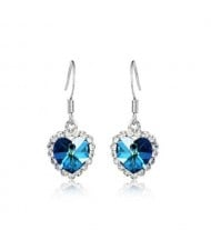 Saphire Crystal Embellished Heart Shape Earrings - Platinum
