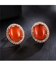 Oval Stone Inlaid with Cubic Zirconia Rimmed Rose Gold Earrings - Red