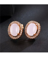 Oval Stone Inlaid with Cubic Zirconia Rimmed Rose Gold Earrings - Pink