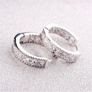 Cubic Zirconia Embellished Mini Hoop Design Delicate Earrings - Platinum