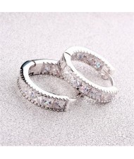 Cubic Zirconia Embellished Mini Hoop Design Delicate Earrings - Platinum