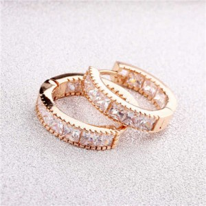 Cubic Zirconia Embellished Mini Hoop Design Delicate Earrings - Rose Gold