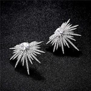 Cubic Zirconia Feather Pattern Design Women 18k Platinum Plated Earrings