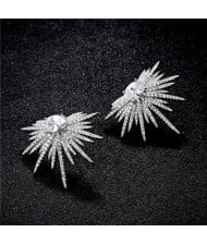 Cubic Zirconia Feather Pattern Design Women 18k Platinum Plated Earrings
