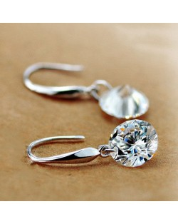Shining Cubic Zirconia Pendant Korean Fashion 18k Platinum Plated Earrings