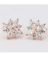 Cubic Zirconia Graceful Flower Design Women Earrings - Rose Gold