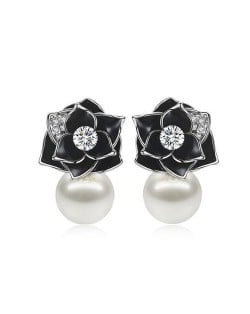 18k Gold Plated Black Rose Pearl Fashion Women Earrings - Platinum