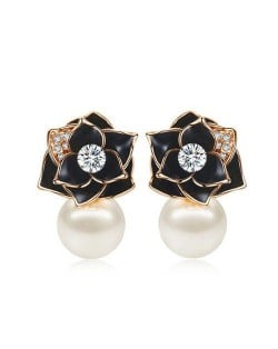 18k Gold Plated Black Rose Pearl Fashion Women Earrings - Rose Gold