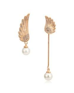 Asymetric Angel Wings Design Earrings - 18k Rose Gold Plated