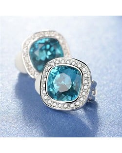 Blue Austrian Crystal Inlaid Button Design 18k Platinum Plated Earrings