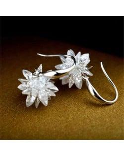 Crystal Flower Korean Fashion Earrings - 18k Platinum Plated