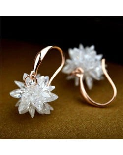 Crystal Flower Korean Fashion Earrings - 18k Rose Gold Plated