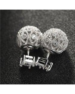 18k Platinum Plated Hollow Ball Design Cubic Zirconia Earrings