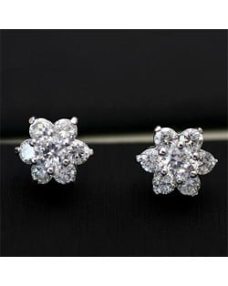 Cubic Zirconia Delicate Flowers Design Womn Earrings - 18k Platinum Plated