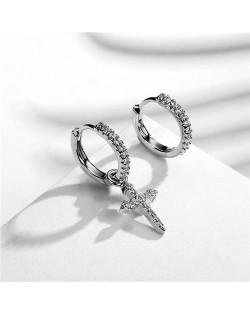 Asymetric Cross Pendant Design 18k Platinum Plated Earrings