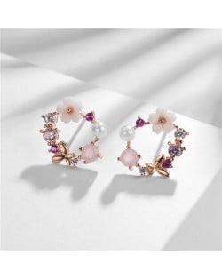 Butterfly Flower Hoop Design Rose Gold Earrings