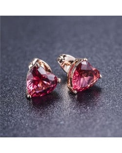 Cubic Zirconia Heart Design Rose Gold Earrings