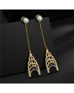 Colorful Cubic Zirconia Embellished Vintage Tower Pendants Rose Gold Earrings