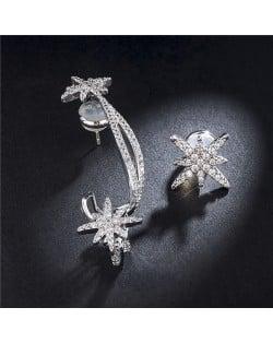 Asymetric Stars Design Cubic Zirconia 18k Platinum Plated Women Earrings