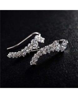 Elegant Cubic Zirconia Embellished Shining Style Earrings - 18k Platinum Plated
