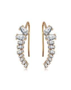 Elegant Cubic Zirconia Embellished Shining Style Earrings - 18k Rose Gold Plated