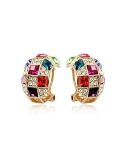 Colorful Austrican Crystal Embellished Queen Fashion Rose Gold Earrings