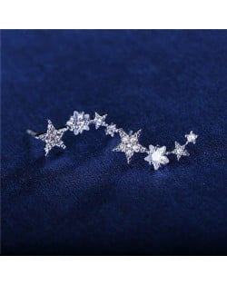 Graceful Stars Array Cubic Zirconia Earring - 18k Platinum Plated