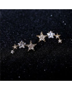 Graceful Stars Array Cubic Zirconia Earring - 18k Rose Gold Plated