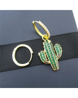 Asymetric Cactus Design 18k Gold Plated Earrings