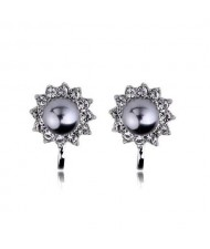 Gray Pearl Inlaid 18k Gold Plating Flower Patter Women Earrings