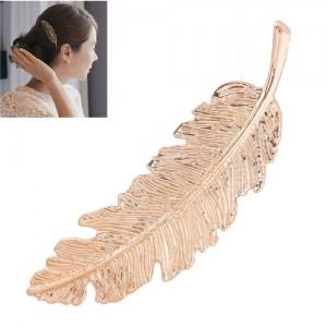 Vintage Leather Design Women Fashion Hair Clip - Golden