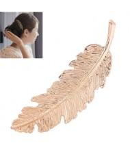 Vintage Leather Design Women Fashion Hair Clip - Golden