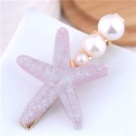 Starfish Pearl Fashion Women Hair Barrette - Pink